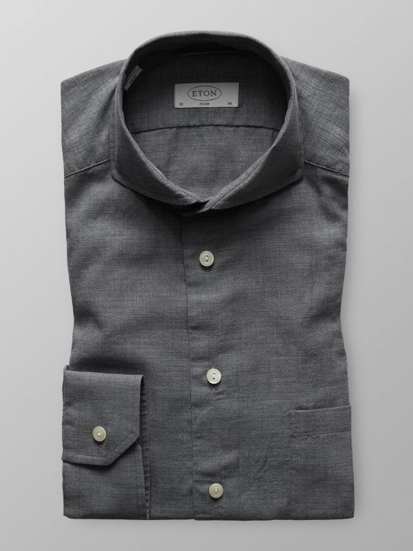 Grey Herringbone Flannel Shirt