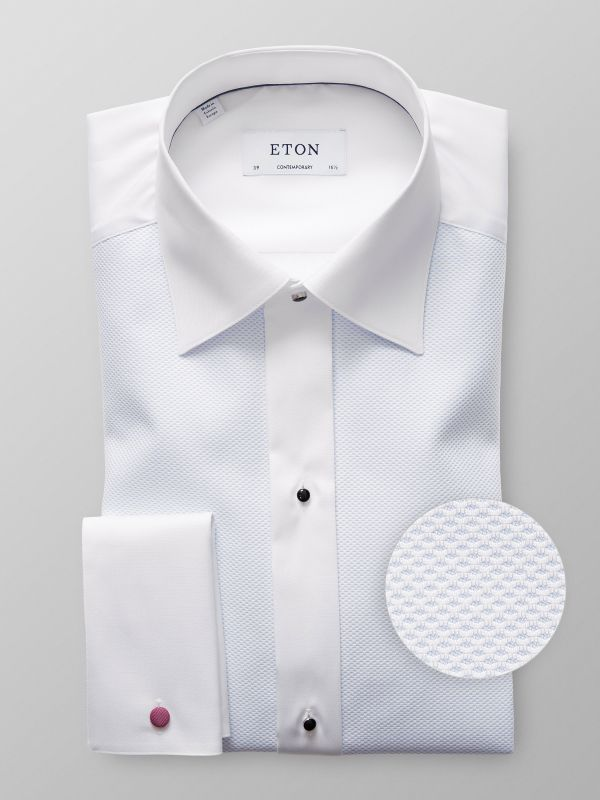 White & Blue Piqué Evening Shirt