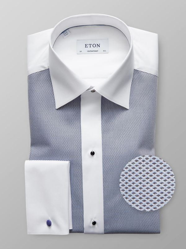 White & Navy Piqué Evening Shirt