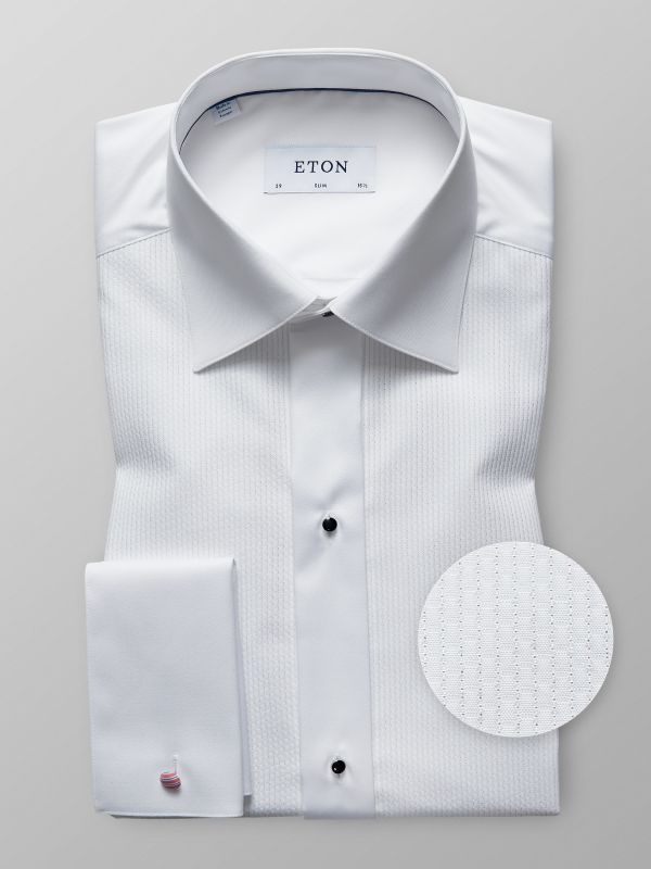 White Plissé Evening Shirt