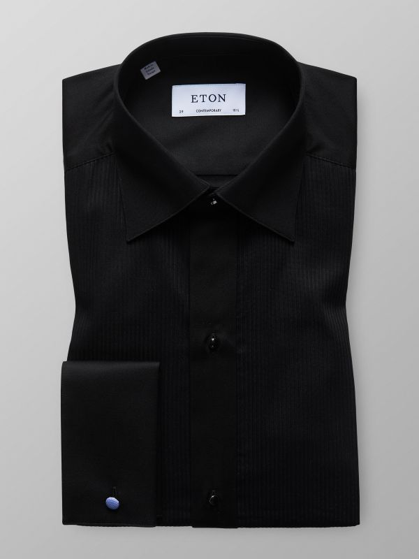 Black Plissé Evening Shirt
