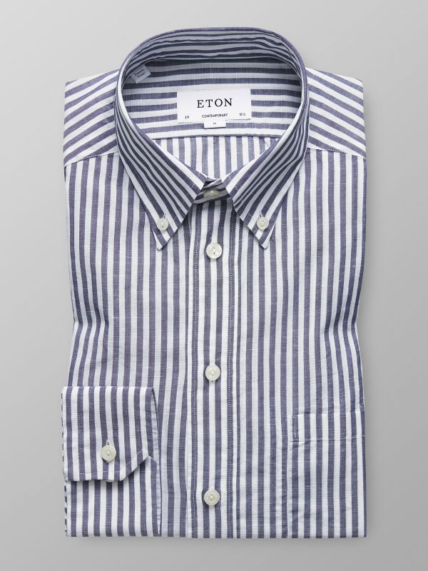 Blue & White Striped Linen Shirt
