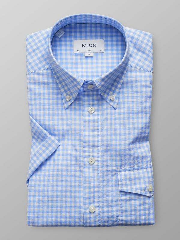 Sky Blue Check Popover Shirt