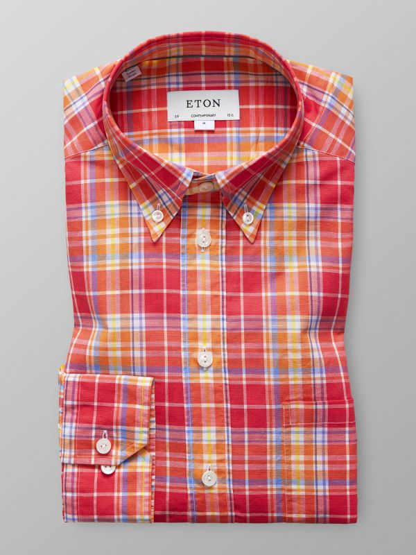 Orange Check Cotton & Linen Shirt