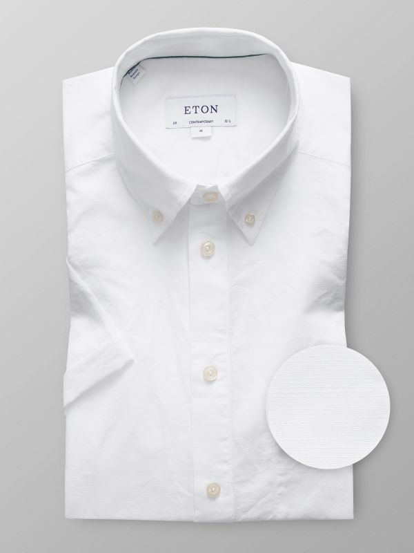 White Short Sleeve Popover Shirt