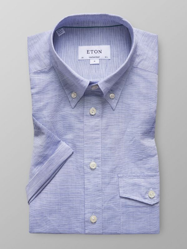 Sky Blue Short Sleeve Popover Shirt