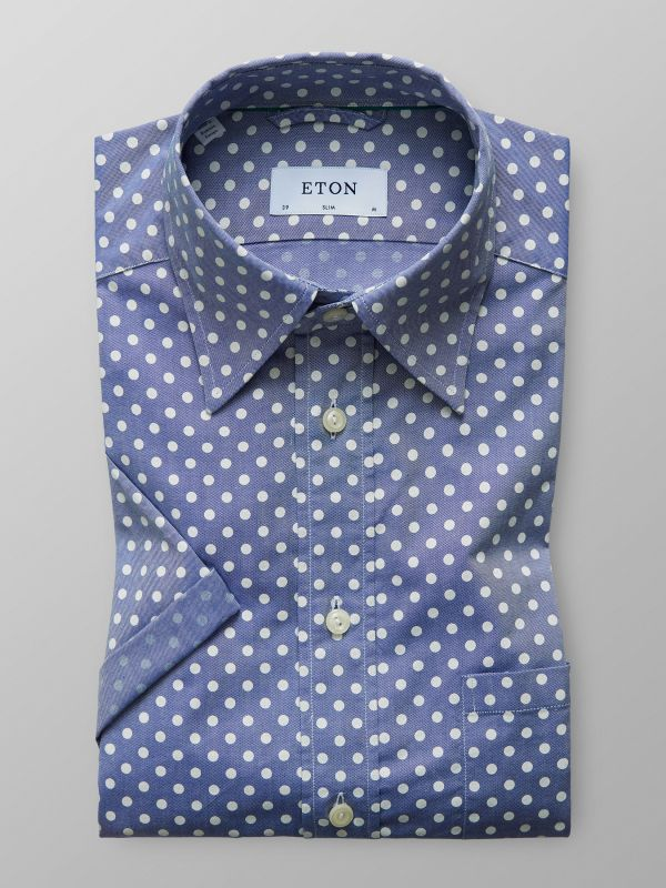 Blue Polka Dot Oxford Shirt - Short Sleeve