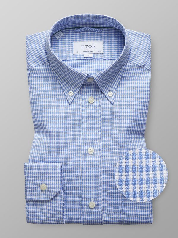 Blue Check Knit Effect Shirt