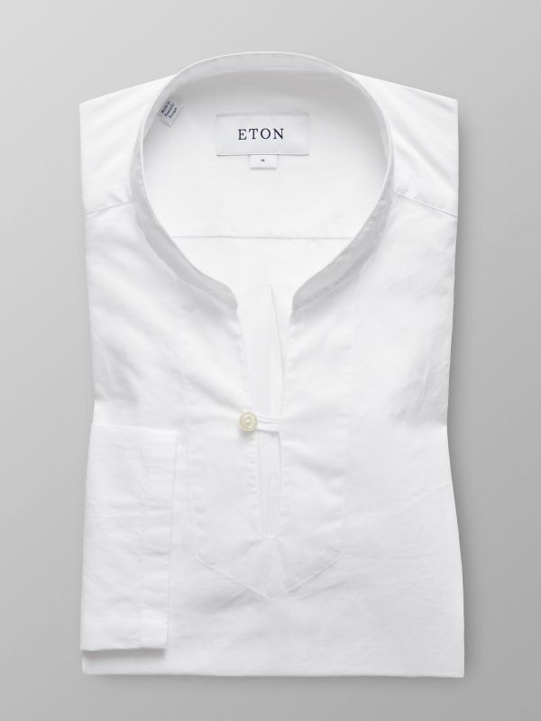 White Lightweight Twill Popover Shirt