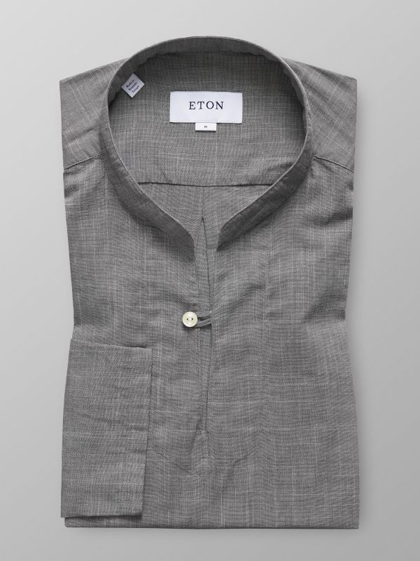 Grey Lightweight Twill Popover Shirt