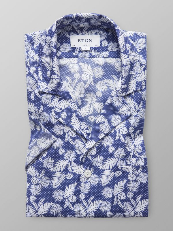 Navy Palm Print Resort Shirt