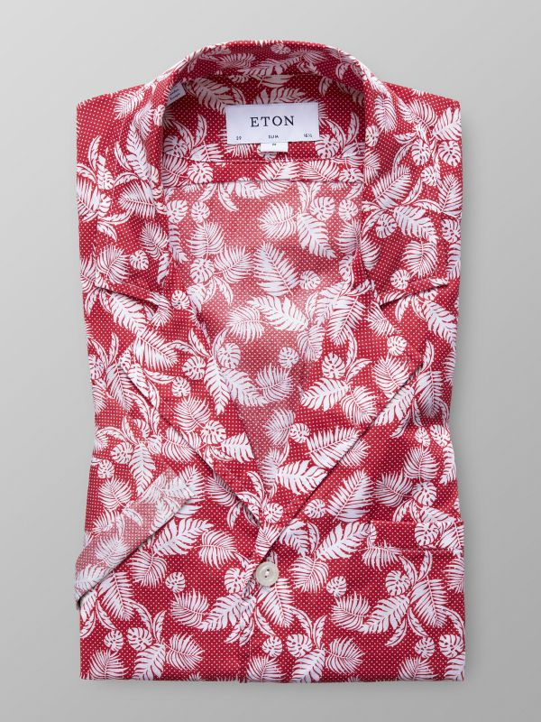 Red Palm Print Resort Shirt