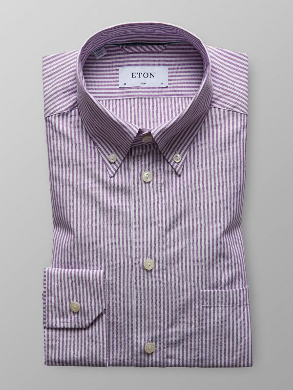 Purple Striped Oxford Shirt
