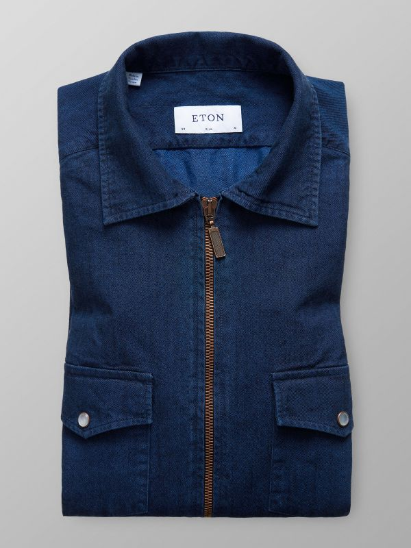 Navy Denim Zipper Shirt