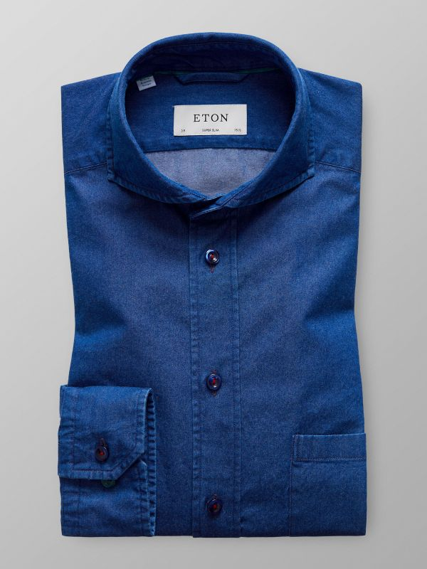 Blue Denim Shirt With Trim Details