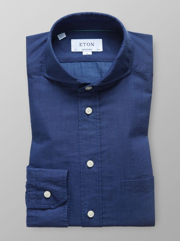 Lighweight Herringbone Indigo Shirt