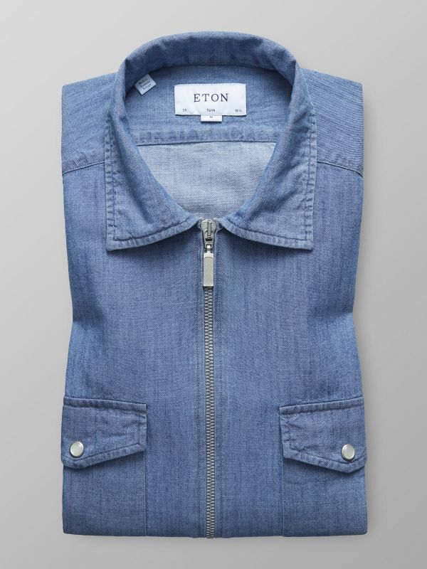 Light Wash Denim Zipper Shirt