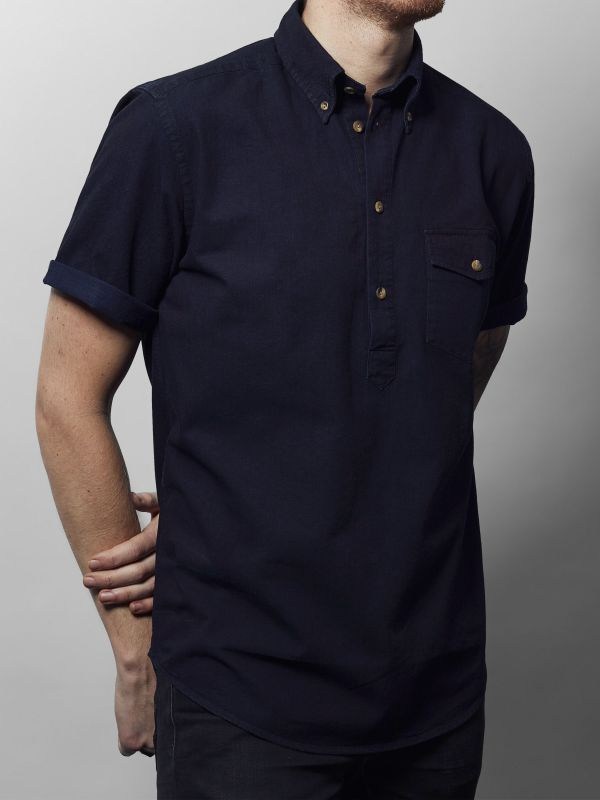 Dark Denim Short Sleeve Popover Shirt