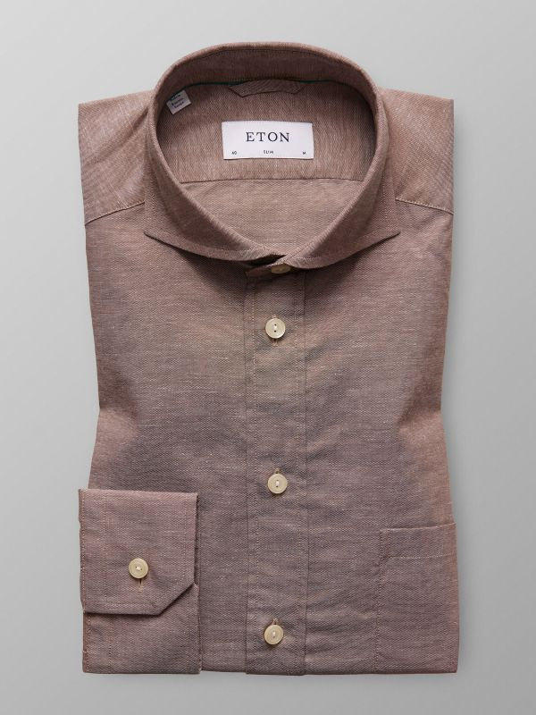 Brown Cotton & Linen Shirt