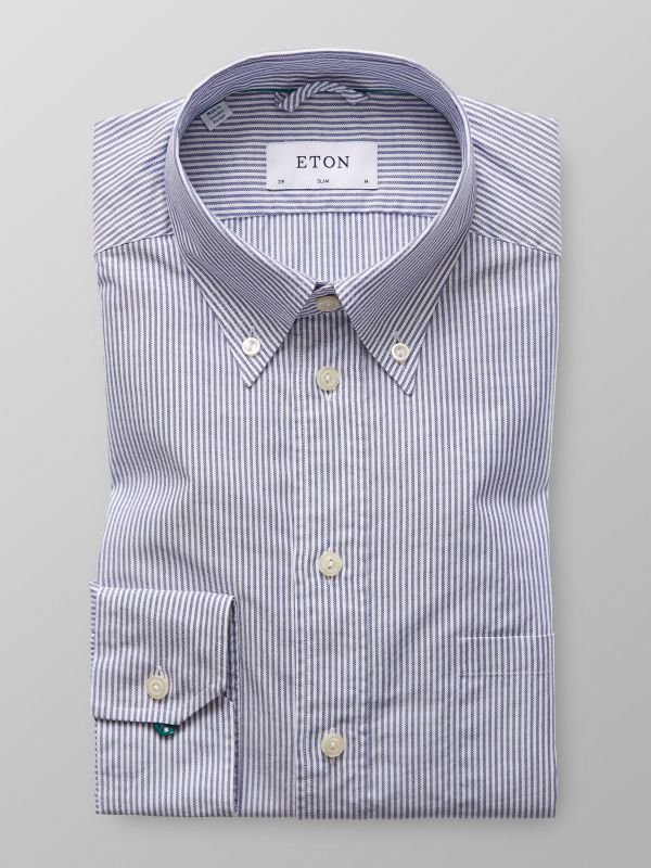 Navy Striped Oxford Shirt