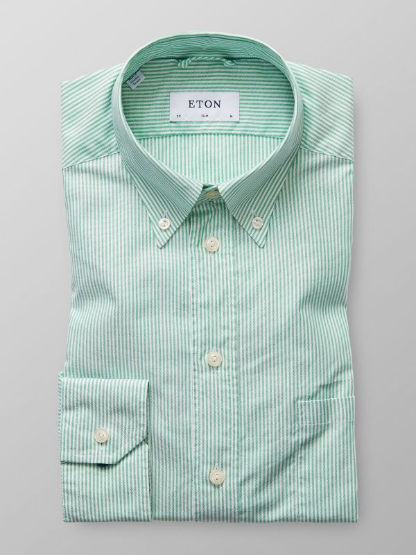 Green Striped Oxford Shirt