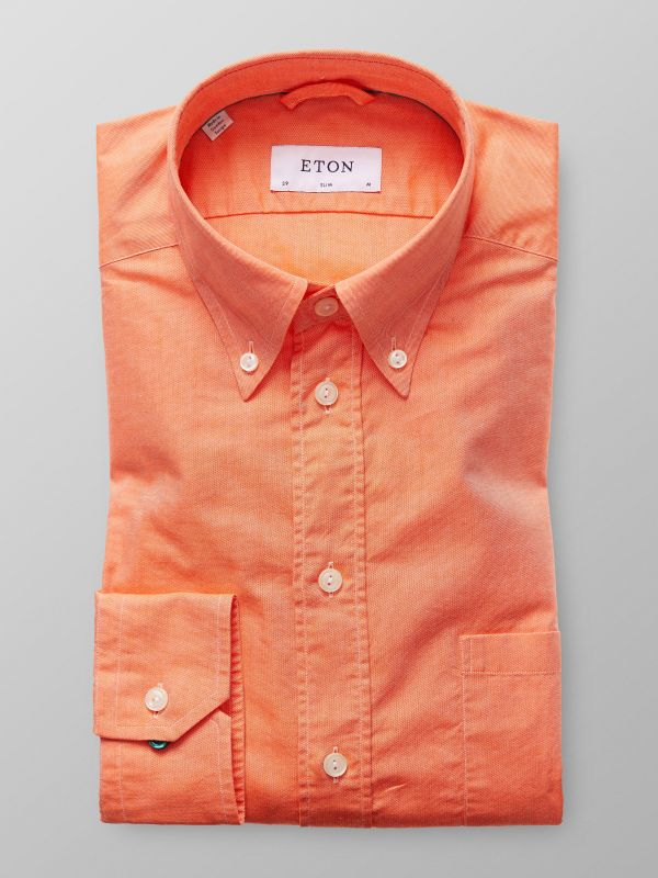 Orange button down-skjorta - oxfordtyg