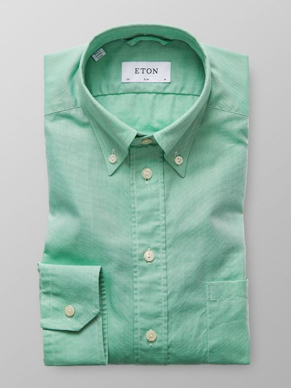 Grön button down-skjorta - oxfordtyg