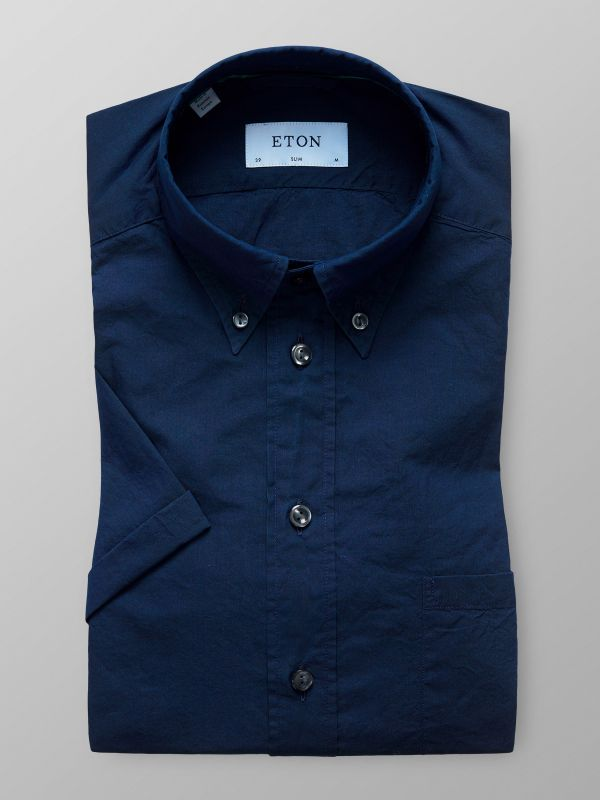 Blue Indigo Dyed Shirt - Short Sleeve
