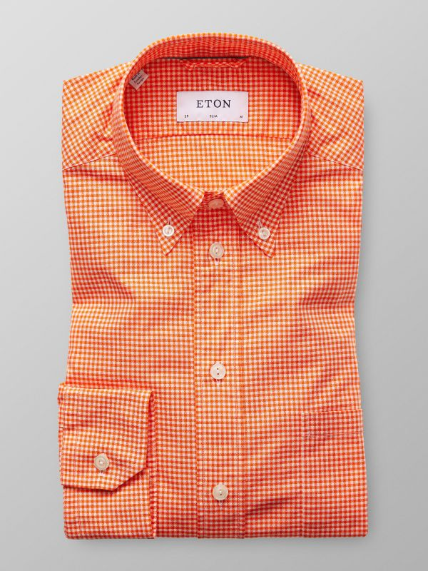 Orangerutig button down-skjorta