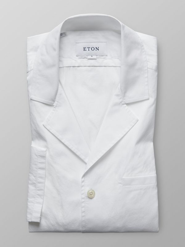 White Poplin Resort Collar Shirt