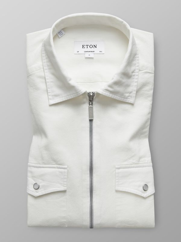White Twill Zipper Shirt