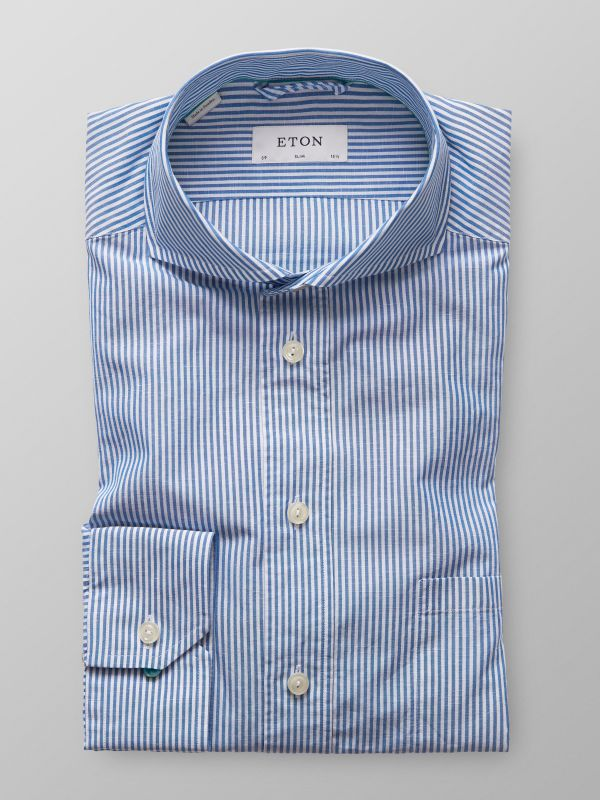 Light Blue Striped Cotton & Linen Shirt