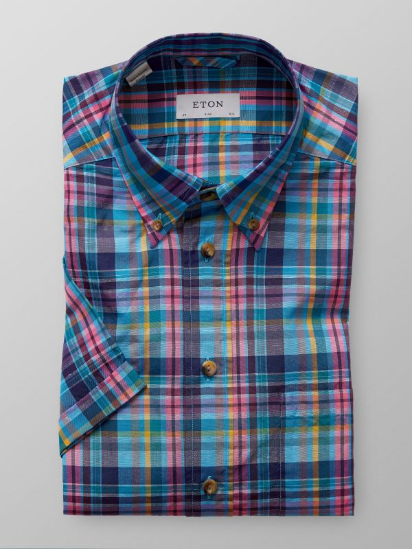 Short Sleeve Checked Cotton & Linen Shirt
