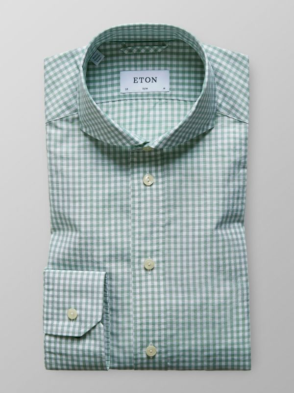 Green Checked Cotton & Linen Shirt