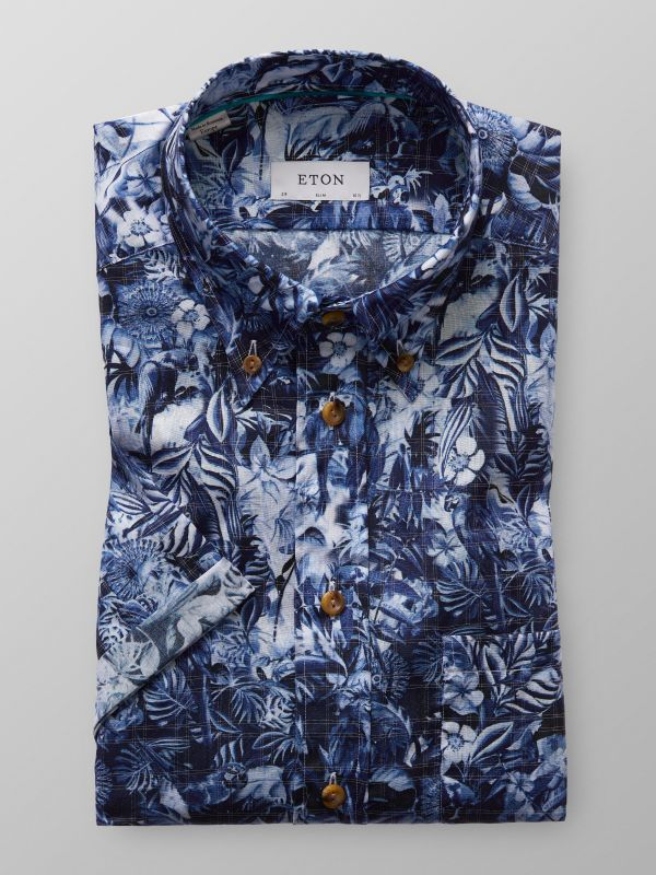 Blue Floral Check Superlight Short Sleeve Shirt