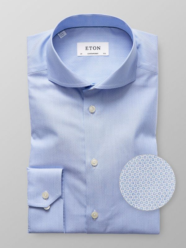 Blue Micro Pattern Brocade Shirt