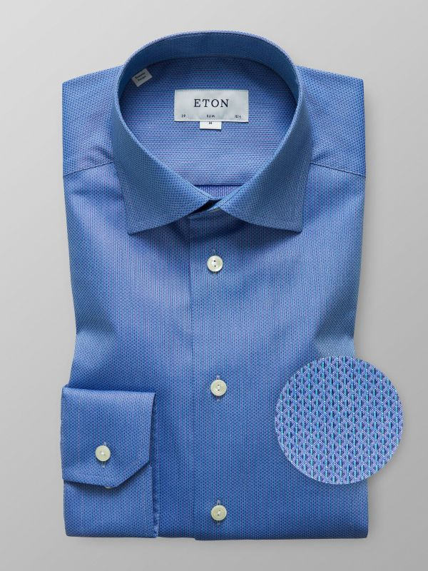 Blue Geometric Woven Effect Shirt