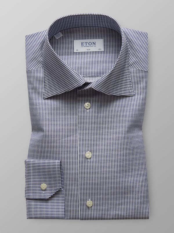 Navy Check Satin Shirt