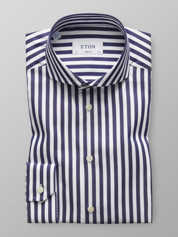 Navy & White Bold Striped Shirt