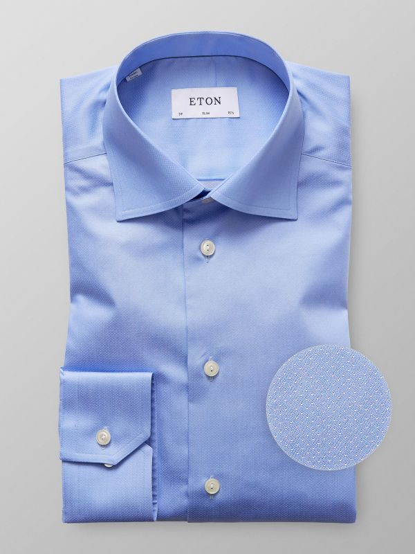 Blue Pin Dots Satin Shirt