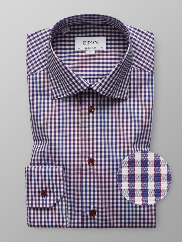 Red & Blue Check Twill Shirt