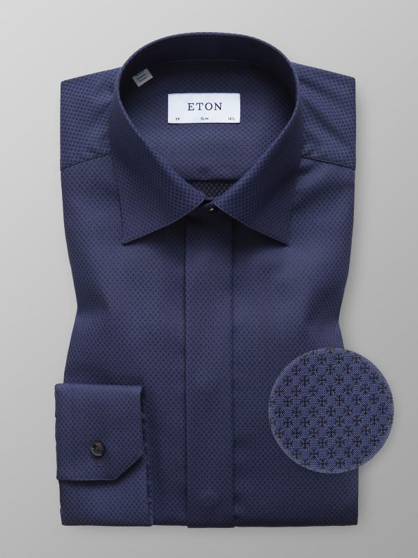 Dark Blue Micro Weave Shirt