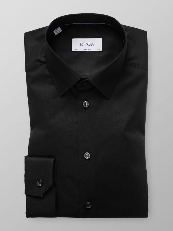 Black Poplin Stretch Shirt