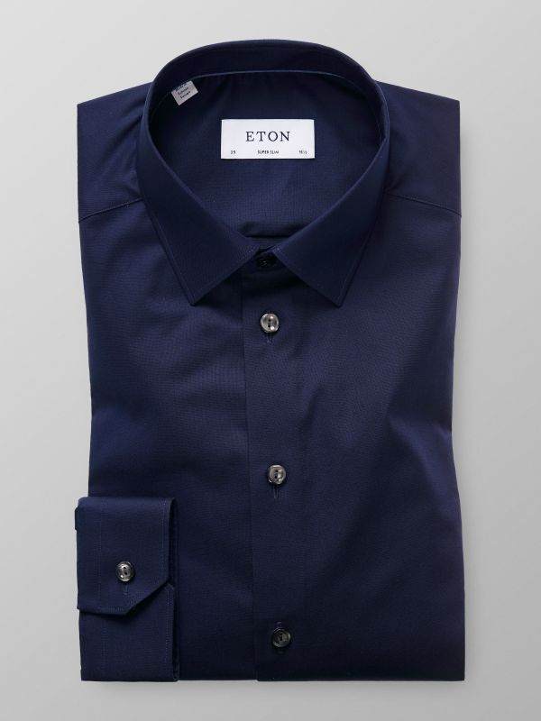 Navy Poplin Stretch Shirt