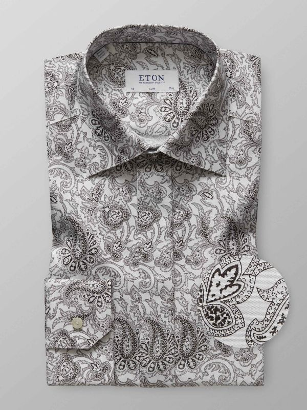 White Paisley Evening Shirt