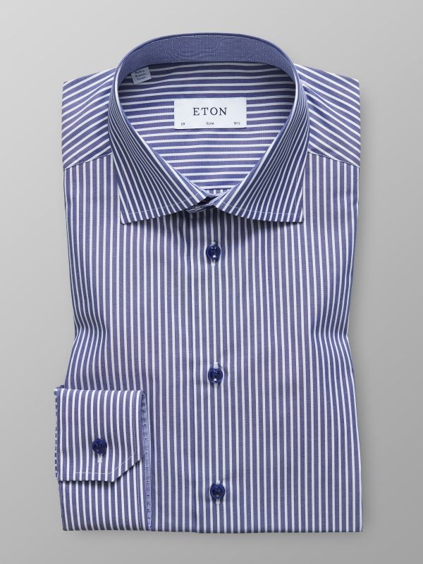 Blue & White Striped Shirt - Dotted Details