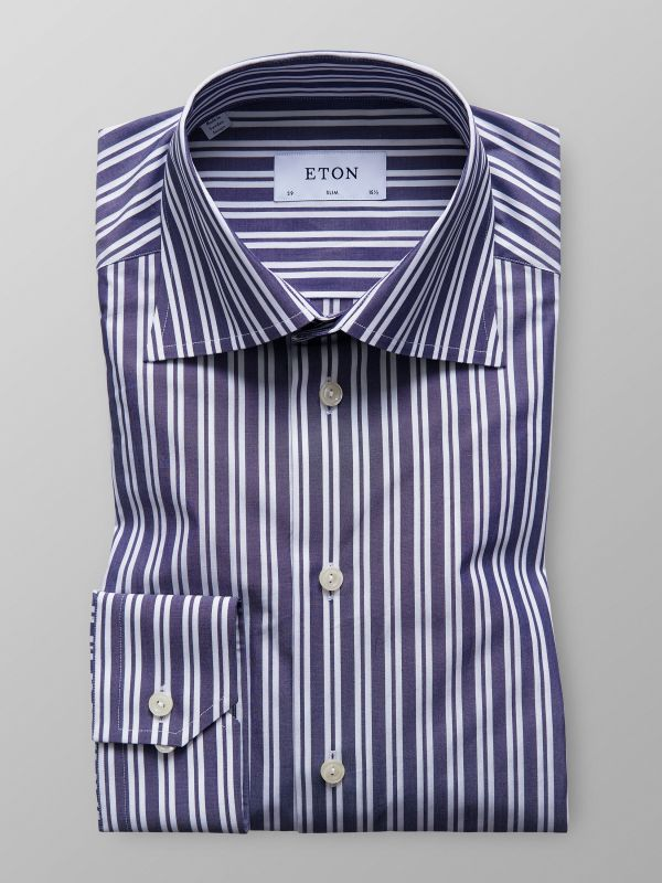 Navy Dual Striped Poplin Shirt