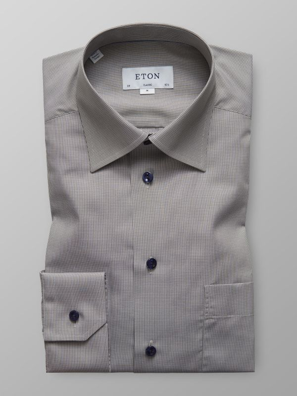 Grey Micro Check Poplin Shirt