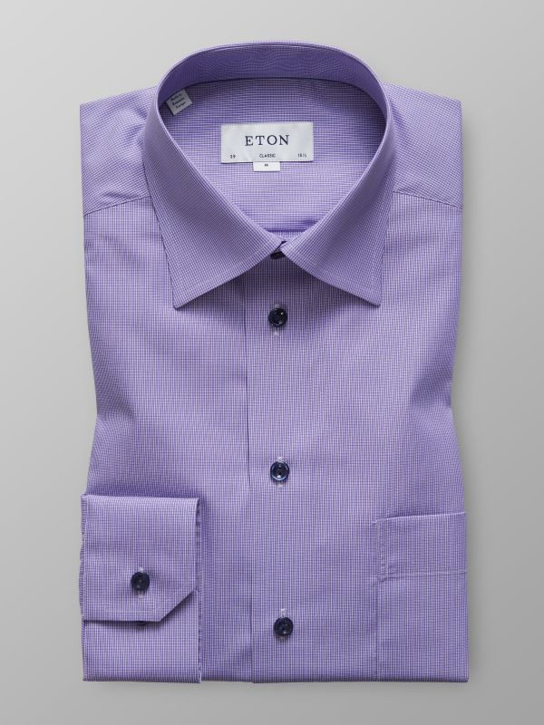 Purple Micro Check Poplin Shirt