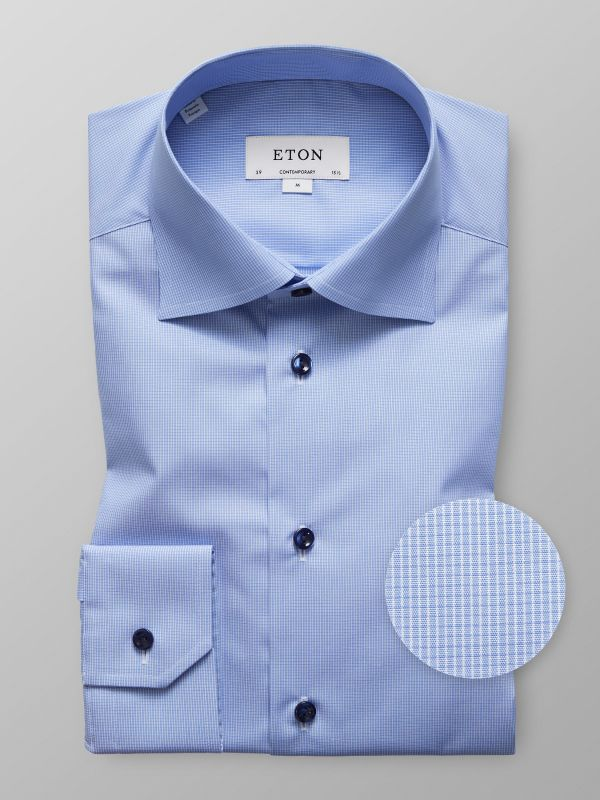 Blue Micro Check Poplin Shirt